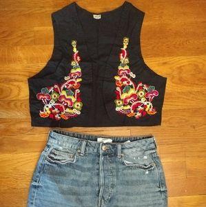 Black Cotton Vest with handmade floral print